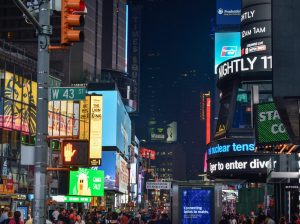 times quare new york by night