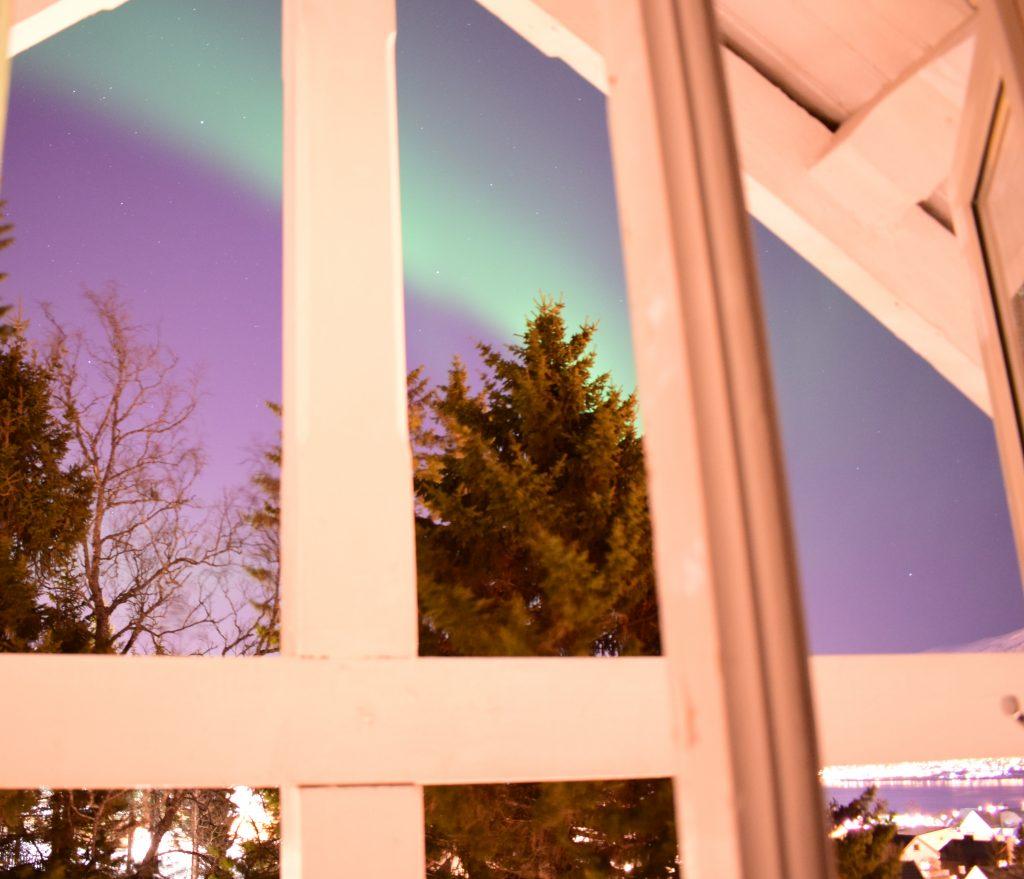 aurora boreale dalla finestra di camera nostra a tromso